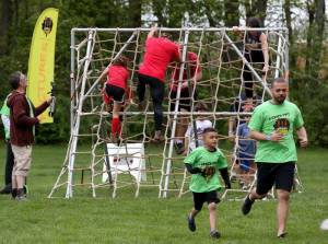 father and son mud run
